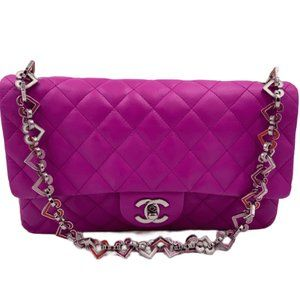 Authentic CHANEL Valentine Flap in Purple SHW